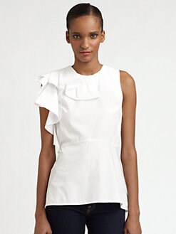 Halston Heritage - Cascading Ruffle-Detail Peplum Top