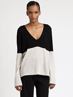 Halston Heritage - Cotton Colorblock V-Neck Top