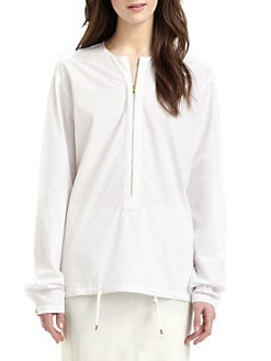 Halston Heritage - Cotton Drawstring-Hem Shirt
