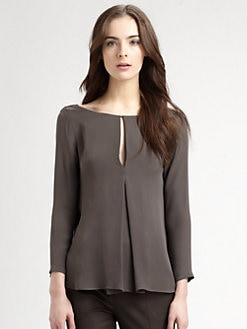 Halston Heritage - Silk Draped-Back Top