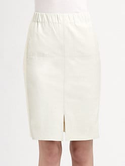 Halston Heritage - Leather/Cotton Front-Slit Skirt