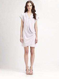 Halston Heritage - Silk Wrap-Front Dress