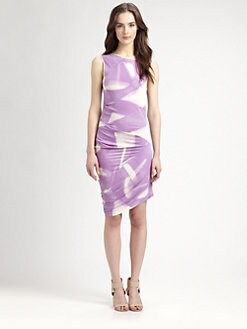Halston Heritage - Printed Asymmetrical Dress