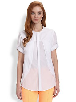 Halston Heritage - Knit Overlay Cotton Shirt