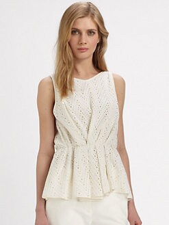 Halston Heritage - Cotton Eyelet Top