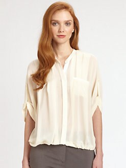 Halston Heritage - Silk Bubble-Hem Top