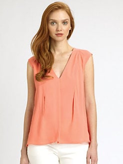 Halston Heritage - Cotton/Silk Draped Top