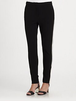 Halston Heritage - Tuxedo-Striped Knit Skinny Pants