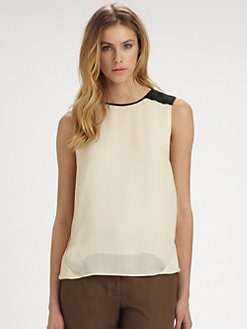 Halston Heritage - Silk Colorblock-Shoulder Top