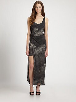Halston Heritage - Printed Linen Maxi Dress