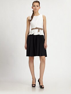PAULE KA - Sleeveless Grosgrain-Belt Dress