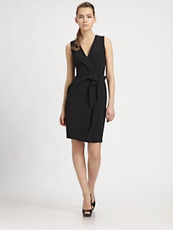 PAULE KA - Crepe Draped-Front Dress