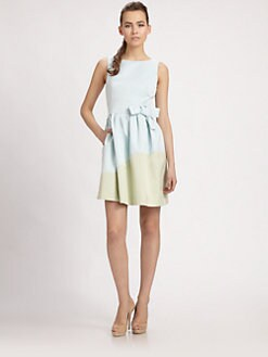 PAULE KA - Colorblock Bow-Belt Dress