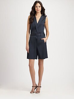 Halston Heritage - Woven Belted Romper