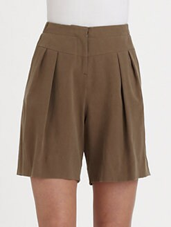 Halston Heritage - SIlk Pleat-Front Shorts
