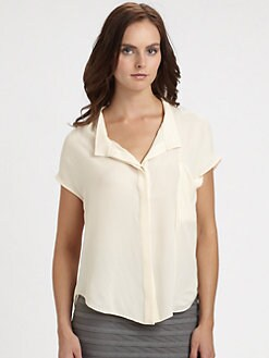 Halston Heritage - Dropped-Collar Silk Blouse