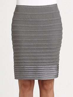 Halston Heritage - Grosgrain-Stripe Pencil Skirt