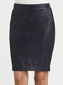Halston Heritage - Leather-Jersey Pencil Skirt