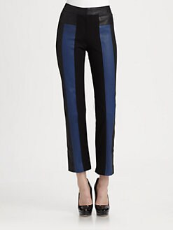 Halston Heritage - Leather Colorblocked Ankle Pants