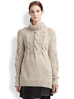 Halston Heritage - Chunky-Cable Turtleneck Sweater