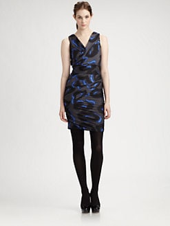 Halston Heritage - Shirred Print Dress