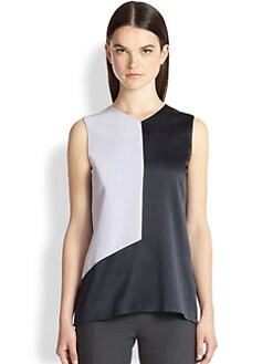 Narciso Rodriguez - Silk Charmeuse Colorblock Blouse