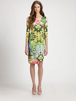 Elie Tahari - Barbara Silk Orchid-Print Dress