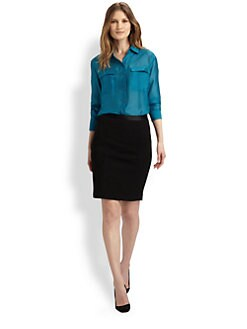 Elie Tahari - Bella Hammered Silk Blouse