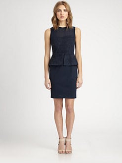 Elie Tahari - Aviva Suede & Silk Dress