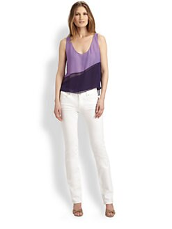 Elie Tahari - Rosalin Silk Chiffon Colorblock Tank