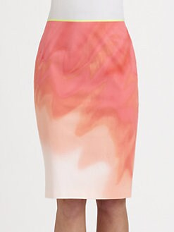 Elie Tahari - Penelope Marbleized-Print Stretch Cotton Pencil Skirt