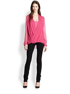 Elie Tahari - Francis Draped Silk Blouse