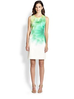 Elie Tahari - Stretch Cotton Floral Print Dress