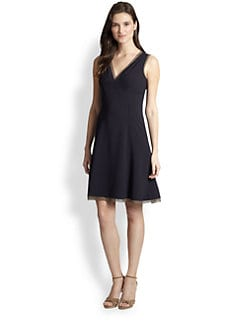 Elie Tahari - Silk-Trimmed Flared Dress