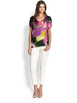 Elie Tahari - Pleated Print Silk Top