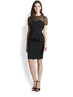 Elie Tahari - Sheer Bodice Back-Peplum Dress