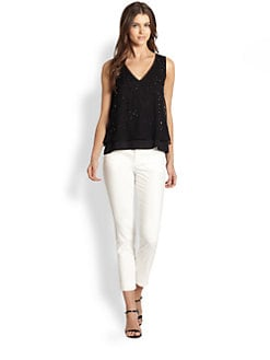 Elie Tahari - Embellished Two-Layer Silk Top