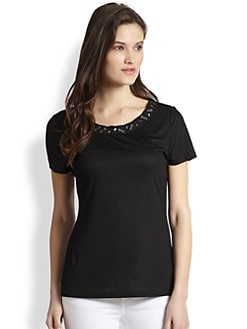 Elie Tahari - Embellished Knit Top