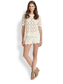 Joie - Alizeh Engineered Cotton Crocheted Blouse