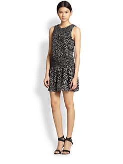 Joie - Kieran Leaf-Print Silk Dress