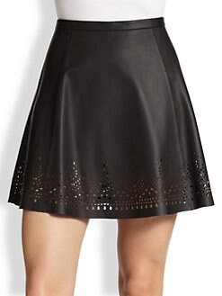 Joie - Senica Laser-Cut Leather Skirt