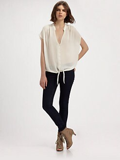 Joie - Baxter Tie-Front Silk Shirt