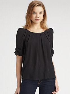 Joie - Eleanor Short-Sleeve Silk Top