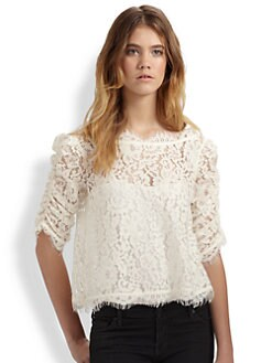 Joie - Fanny Cropped and Scalloped Lace Top