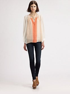 Joie - Sinden Colorblock Silk Crepe Blouse