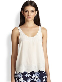 Joie - Silk Eyelet V-Back Top