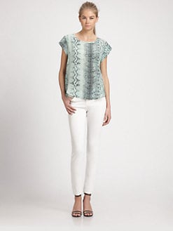 Joie - Rancher Snakeskin Print Silk Top