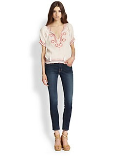 Joie - Jamine Embroidered Crepe Top