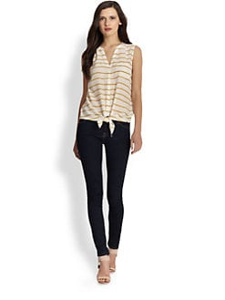 Joie - Edalette Rope-Print Silk Top