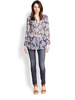 Joie - Martine Sheer Silk Floral-Print Blouse